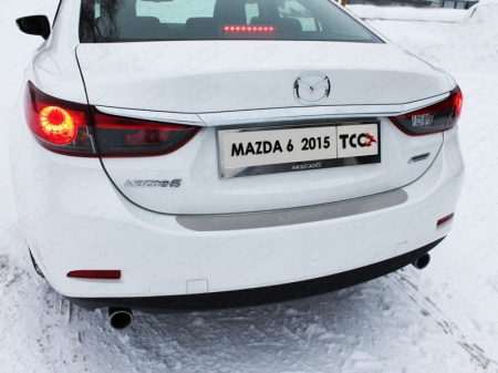 Mazda 6 2015 - Накладка на задний бампер (лист шлифованный надпись Mazda)
